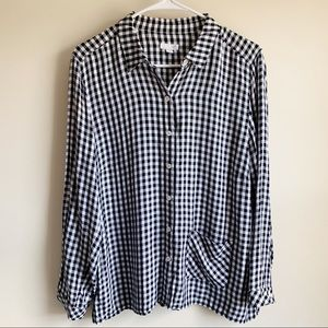J Jill Gingham Plaid Button Up Blouse Fall Neutral